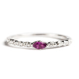 925 SILVER SEMI INFINITY RING WITH RHODOLITE AND CUBIC ZIRCONA