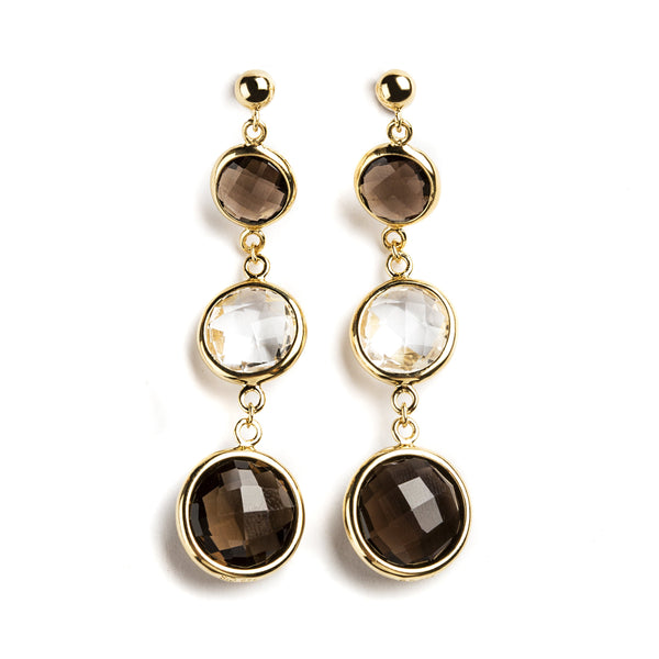 925 SILVER GOLD PLATED EARRINGS WITH ROCK CRYSTAL AND SMOKY QUARTZ