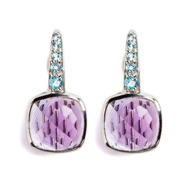 925 SILVER EARRINGS WITH BRAZILIAN AMETHYST AND BLUE TOPAZ