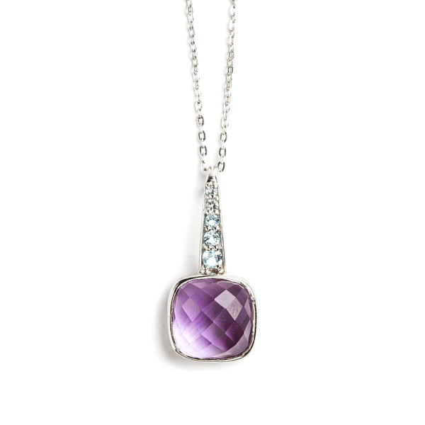 925 SILVER PENDANT WITH BRAZILIAN AMETHYST AND BLUE TOPAZ