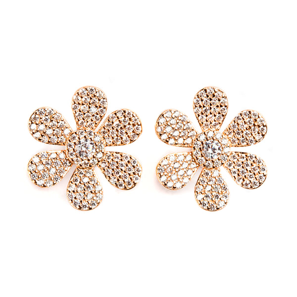 925 SILVER ROSE GOLD PLATED FLOWER EARRINGS WITH CRYSTALS