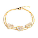 925 SILVER GOLD PLATED BRACELET WITH MOTHER OF PEARL HEARTS AND CRYSTALS
