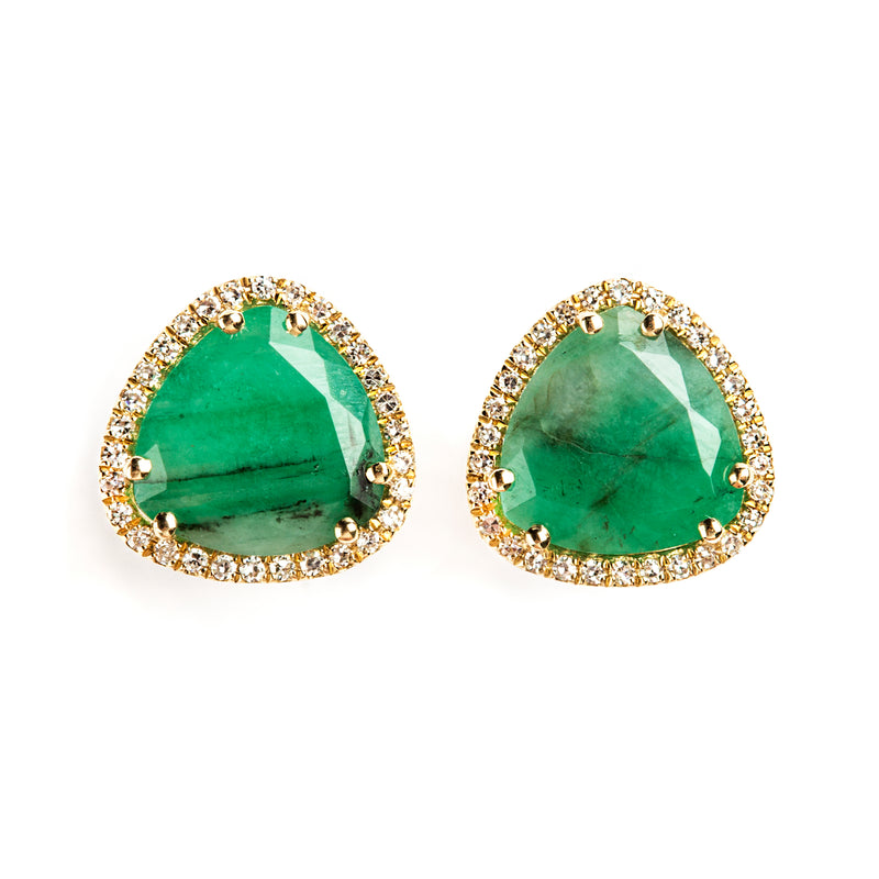 14K GOLD EARRINGS WITH DIAMONDS AND EMERALD