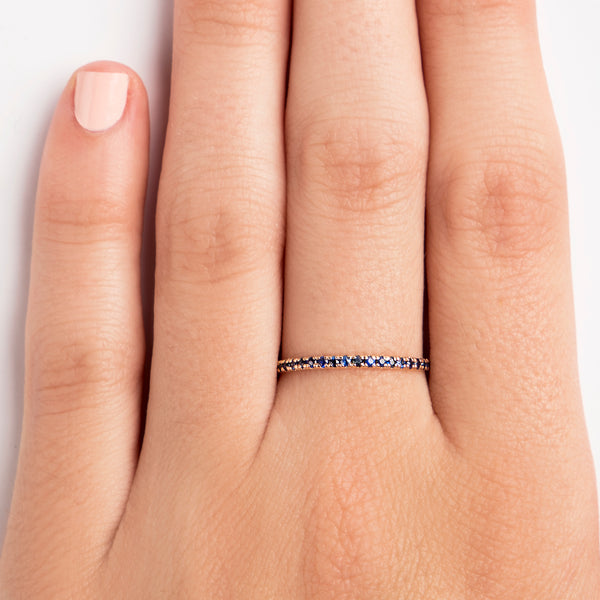 14K ROSE GOLD SEMI INFINITY RING WITH BLUE SAPPHIRES