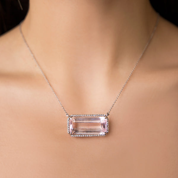 14K WHITE GOLD NECKLACE WITH DIAMONDS AND PINK KUNZITE