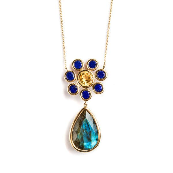 14KY NECKLACE LAB. CITRINE LAPIS