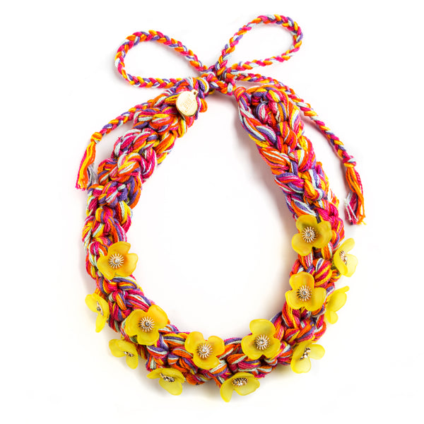 NECKLACE WITH YELLOW FLOWERS AND MULTI COLOR THREADS