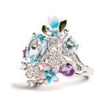 925 SILVER RING WITH BLUE TOPAZ AMETHYST AND WHITE TOPAZ