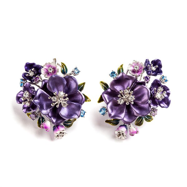 925 SILVER PURPLE FLOWER EARRINGS WITH BLUE TOPAZ AND CRYSTALS