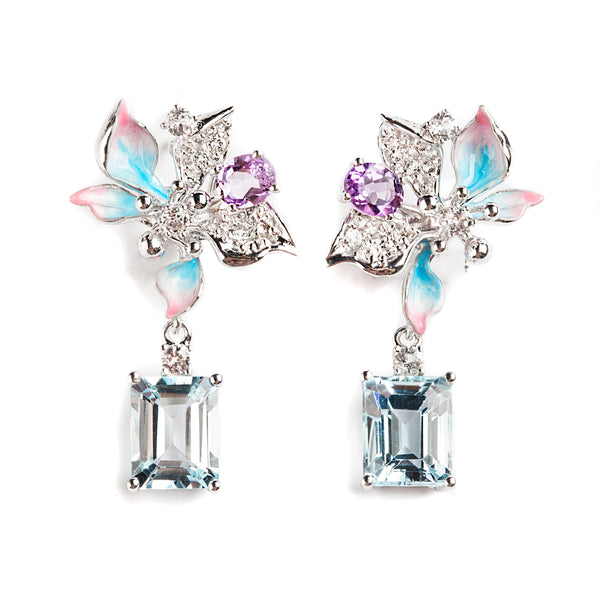 925 SILVER FLOWER EARRING WITH DANGLING BLUE TOPAZ IN EMERALD CUT