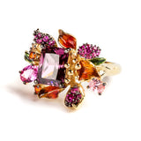 925 SILVER GOLD PLATED RING WITH COLORED FLOWERS AND PURPLE CRISTAL