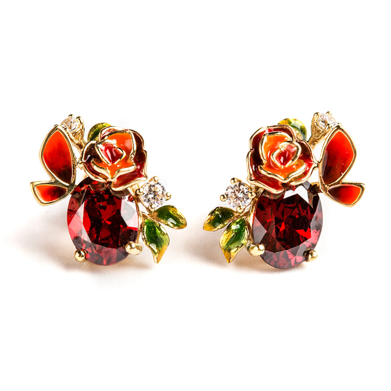 925 SILVER GOLD PLATED STUDS WITH ORANGE AND RED FLOWERS AND BUTTERFLIES WITH RED CRYSTAL