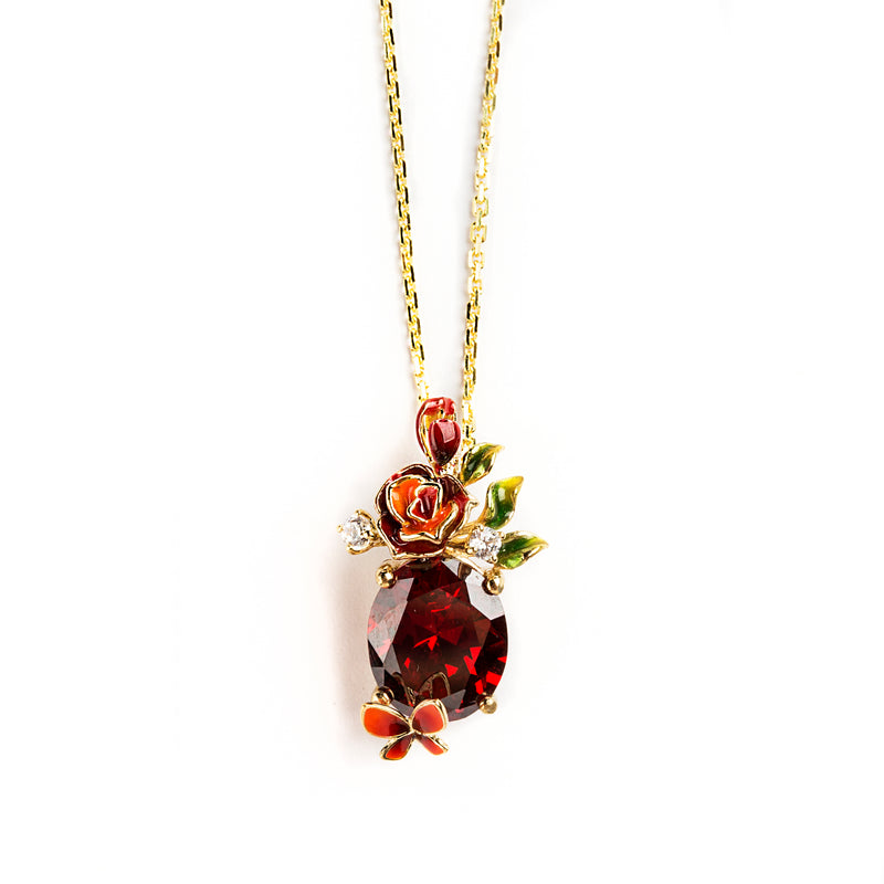 925 SILVER GOLD PLATED PENDANT WITH ORANGE AND RED FLOWER AND BUTTERFLY WITH RED CRYSTAL