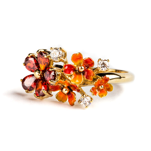 925 SILVER GOLD PLATEAD RING WITH RED FLOWERS AND RED AND WHITE CRISTALS