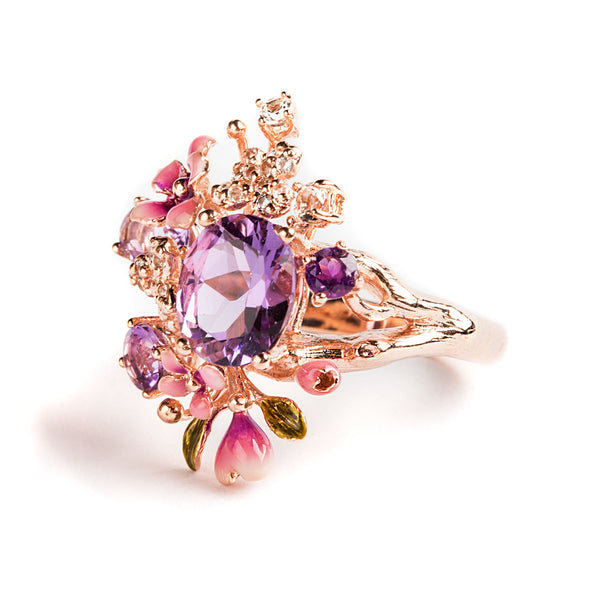 925 SILVER ROSEGOLD PLATED RING WITH PINK FLOWERS AND AMETHYST AND WHITE CRISTALS