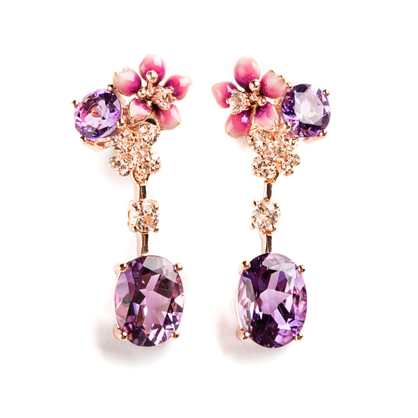 925 SILVER ROSEGOLD PLATEAD EARRINGS WITH AMETHYST AND DANGLING CRISTAL AND AMETHYST