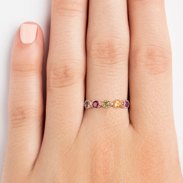 925 SILVER ROSE GOLD PLATED SEMI INFINITY RING WITH AMETHYST, CITRINE, BLUE TOPAZ AND PERIDOT