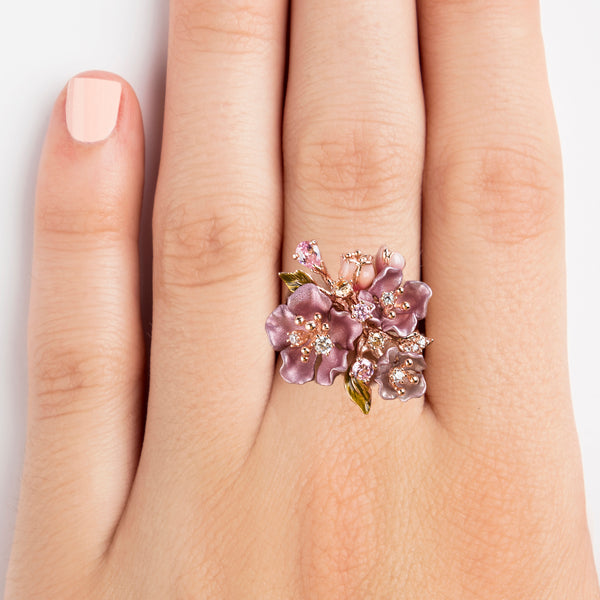 925 SILVER ROSE GOLD PLATED RING WITH PINK FLOWERS AND WHITE AND PINK CRISTALS