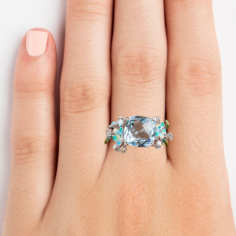 925 SILVER RING WITH FLOWERS, BLUE TOPAZ AND CRYSTALS