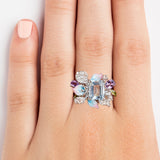 925 SILVER RING WITH BLUE TOPAZ IN EMERALD CUT, AMETHYST AND CRYSTALS