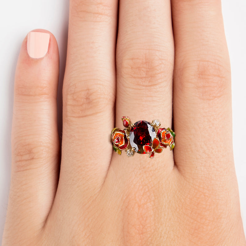 925 SILVER GOLD PLATED RING WITH ORANGE AND RED FLOWER AND BUTTERFLY WITH RED CRISTAL