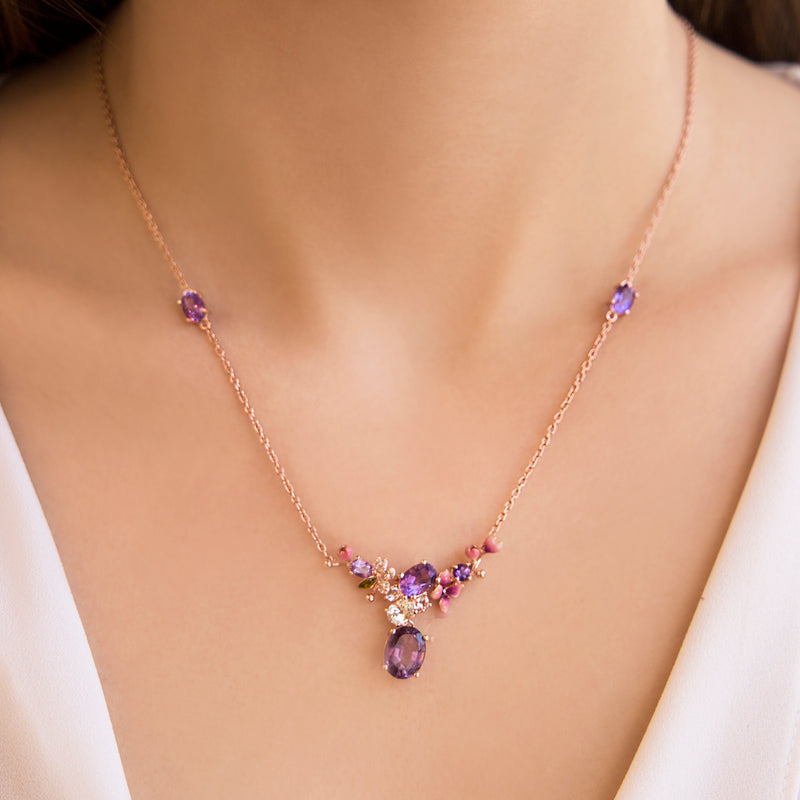 925 SILVER ROSEGOLD PLATED NECKLACE WITH PINK FLOWERS AND AMETHYST AND WHITE CRISTALS