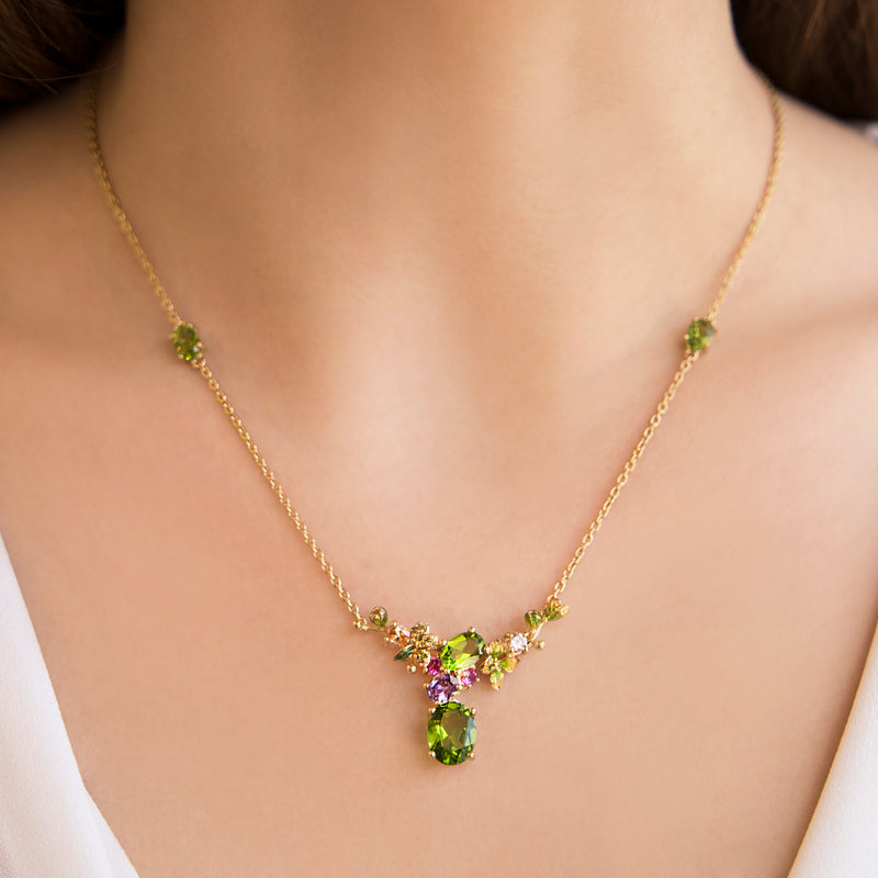 925 SILVER GOLD PLATEAD NECKLACE WITH GREEN FLOWERS GREEN CRISTAL AND COLORED CRISTALS
