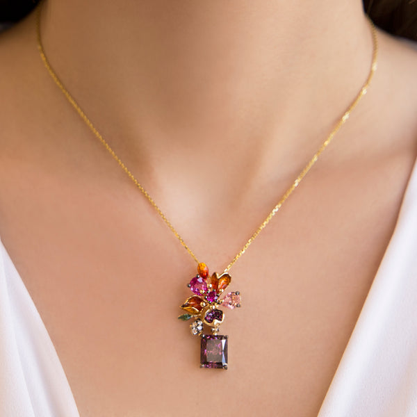 925 SILVER GOLD PLATED PENDANT WITH COLORED FLOWER AND DANGLING PURPLE CRISTAL