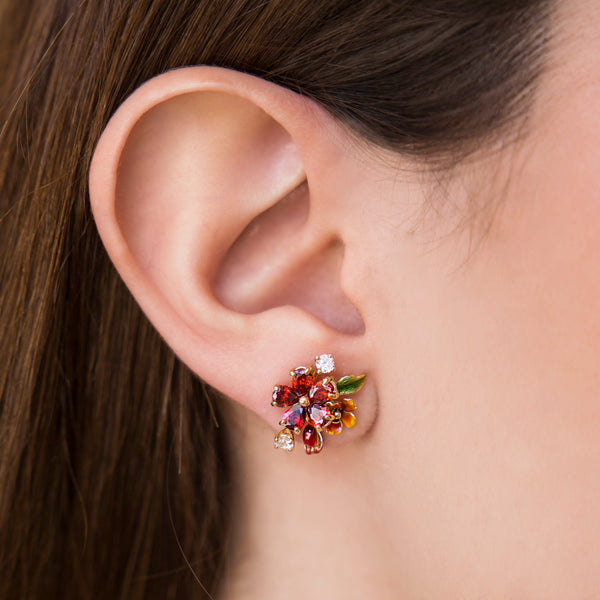 925 GOLD PLATEAD EARRINGS WITH RED CRISTALS FLOWER AND WHITE CRISTALS