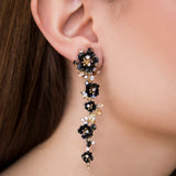 925 SILVER GOLD PLATED EARRINGS WITH BLACK FLOWERS AND YELLOW, WHITE AND BLACK CRISTALS
