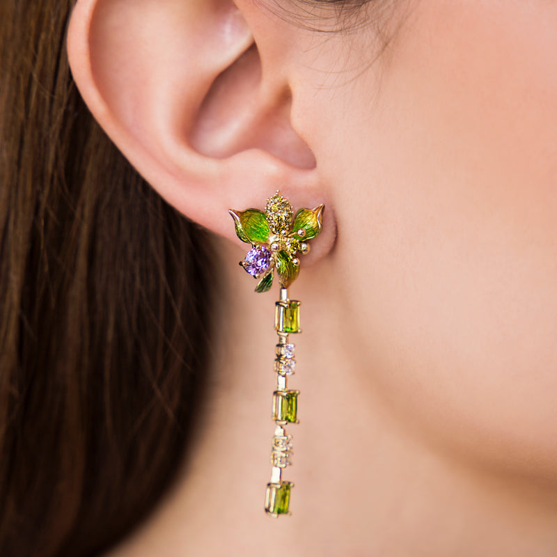 925 SILVER GOLD PLATED FLOWER EARRING WITH PERIDOT AND CRYSTALS