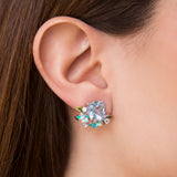 925 SILVER EARRINGS WITH FLOWERS, BLUE TOPAZ AND CRYSTALS