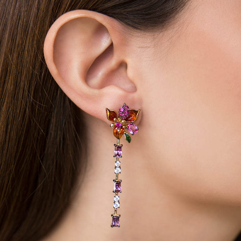 925 SILVER GOLD PLATED EARRINGS COLORED FLOWER AND DANGLING PURPLE AND WHITE CRISTALS
