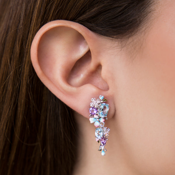 925 SILVER EARRING WITH BLUE TOPAZ, AMETHYST AND WHITE TOPAZ