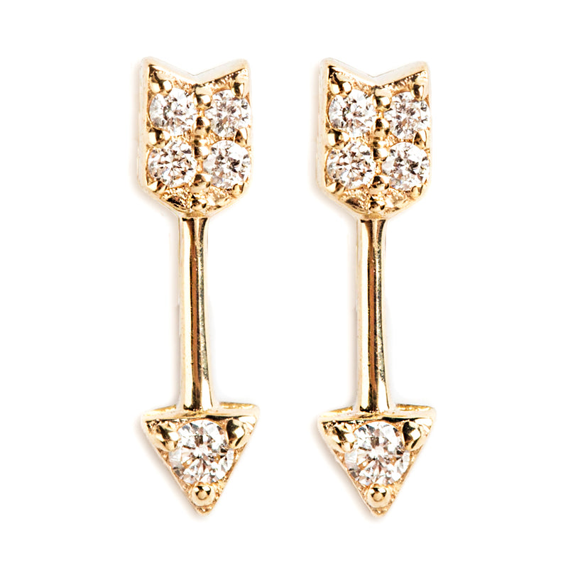 14K GOLD EARRINGS WITH DIAMONDS AND ARROW