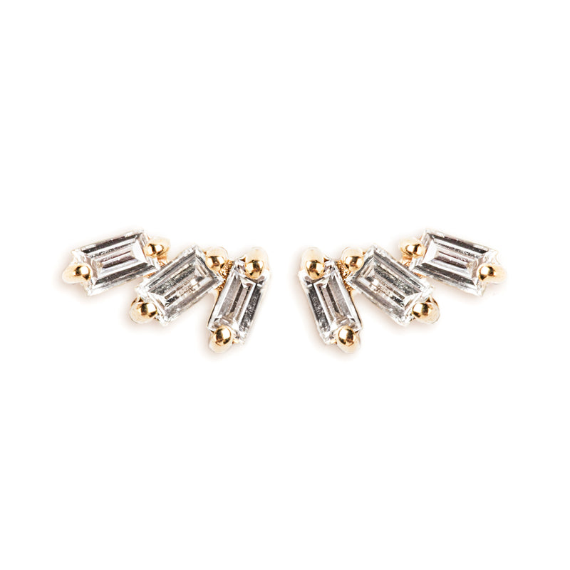 14K GOLD EARRINGS WITH BAGUETTE DIAMONDS