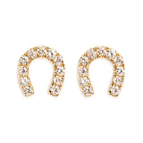 14K GOLD EARRINGS WITH DIAMOND HORSESHOE