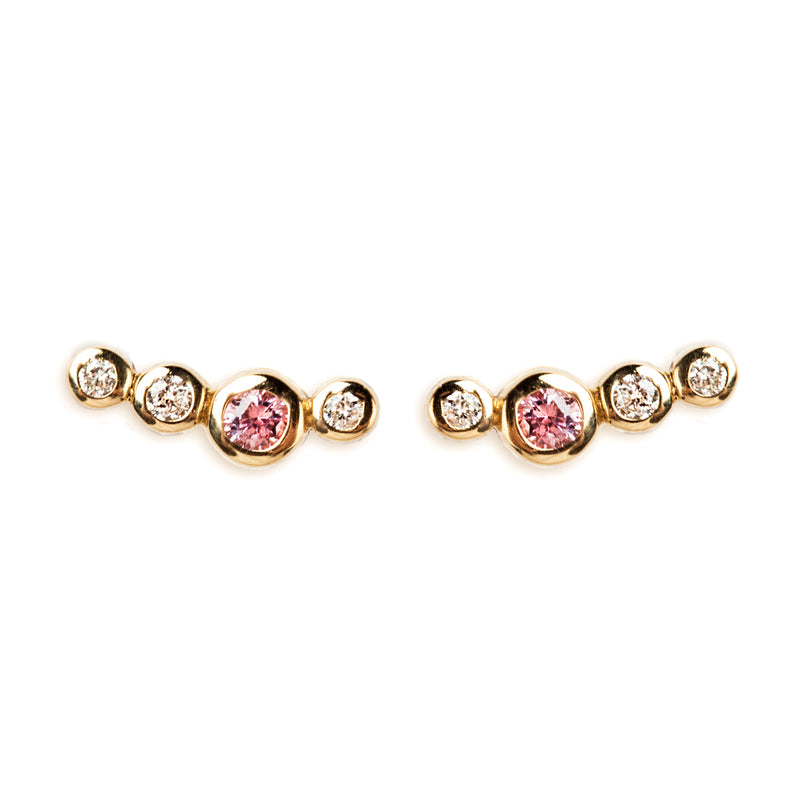 14K GOLD EARRINGS WITH PINK SAPPHIRE AND DIAMONDS