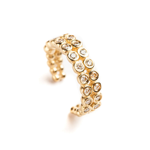 14K GOLD SMALL CUFF EARRING WITH DIAMONDS