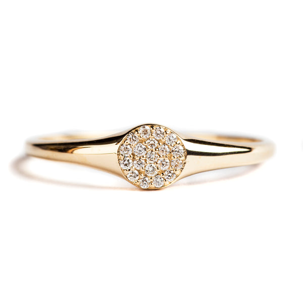 14K GOLD RING WITH DIAMONDS CIRCLE