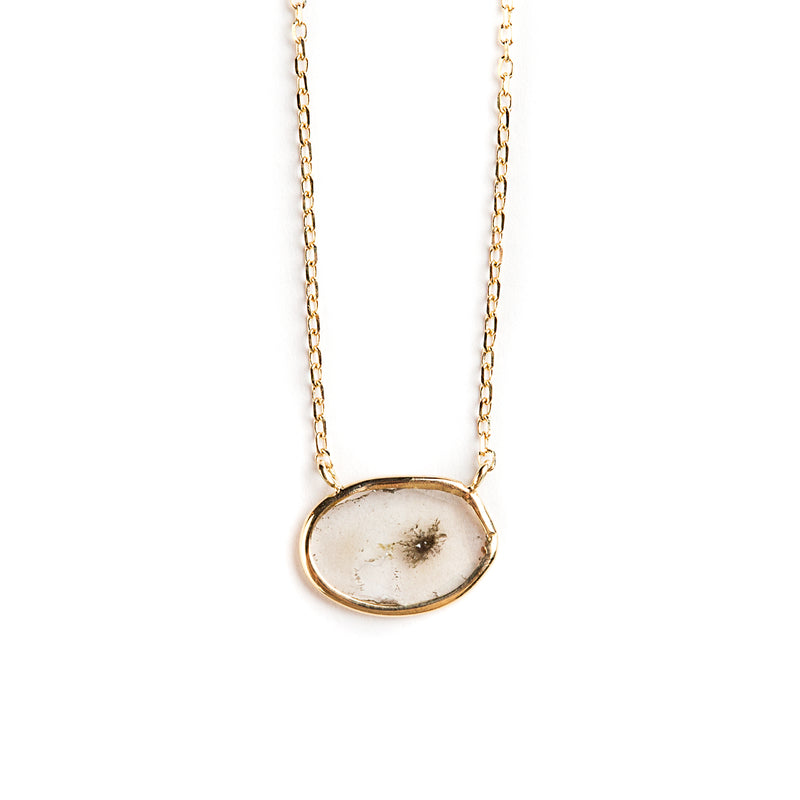 14K GOLD PENDANT WITH SLICED DIAMOND