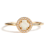 14K GOLD RING WITH AUSTRALIAN OPAL AND SAPPHIRE