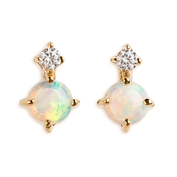 14K GOLD EARRINGS WITH AUSTRALIAN OPAL AND SAPPHIRE