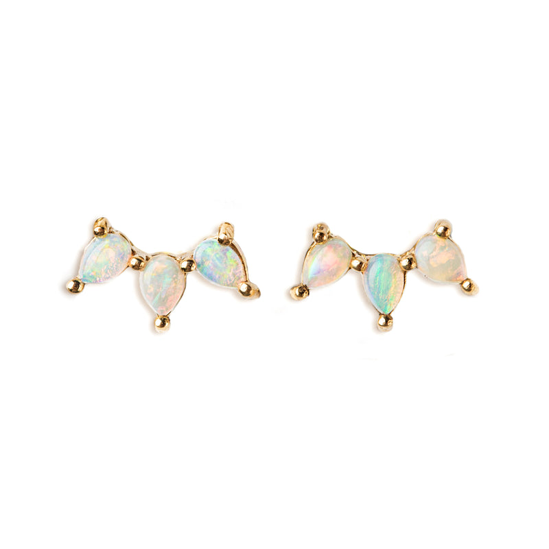 14K GOLD EARRINGS WITH AUSTRALIAN OPAL