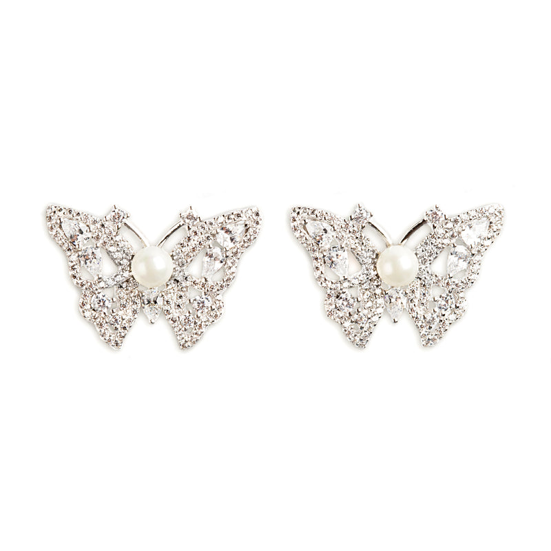 925 SILVER BUTTERFLY EARRINGS WITH CRYSTALS AND PEARL