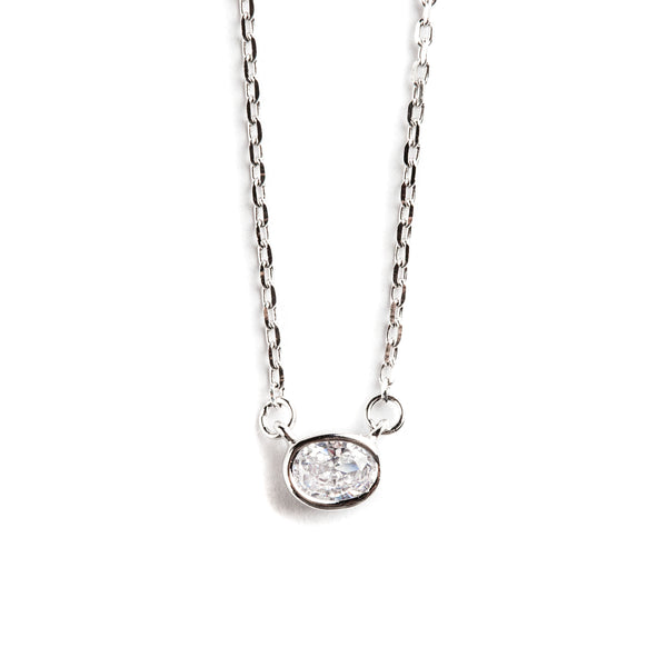 925 SILVER CHAIN AND CRYSTAL PENDANT
