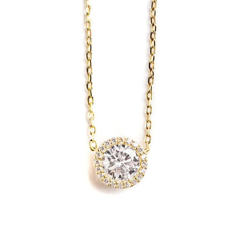 925 GOLD PLATED CHAIN WITH ROUND HALO PENDANT AND CRYSTALS