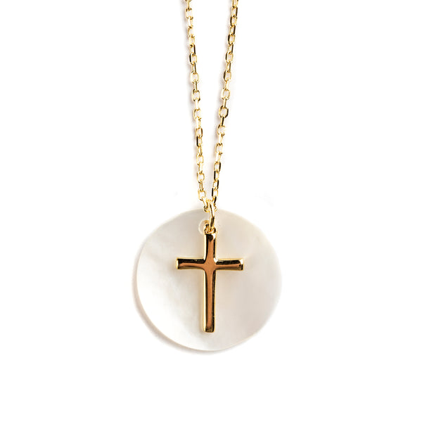 925 GOLD PLATED SILVER CHAIN WITH MOTHER OF PEARL AND CROSS PENDANT
