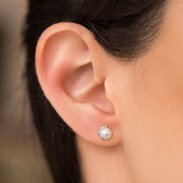 925 SILVER STUD EARRINGS WITH PEARL AND CRYSTALS