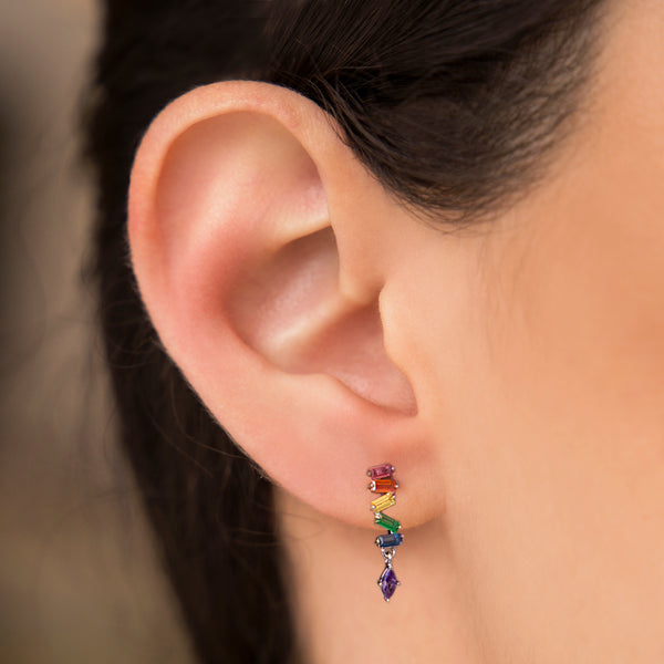 925 SILVER EARRINGS WITH MULTICOLOR CRYSTALS